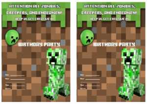 Printable Minecraft Invitations intended for Minecraft Birthday Card Template
