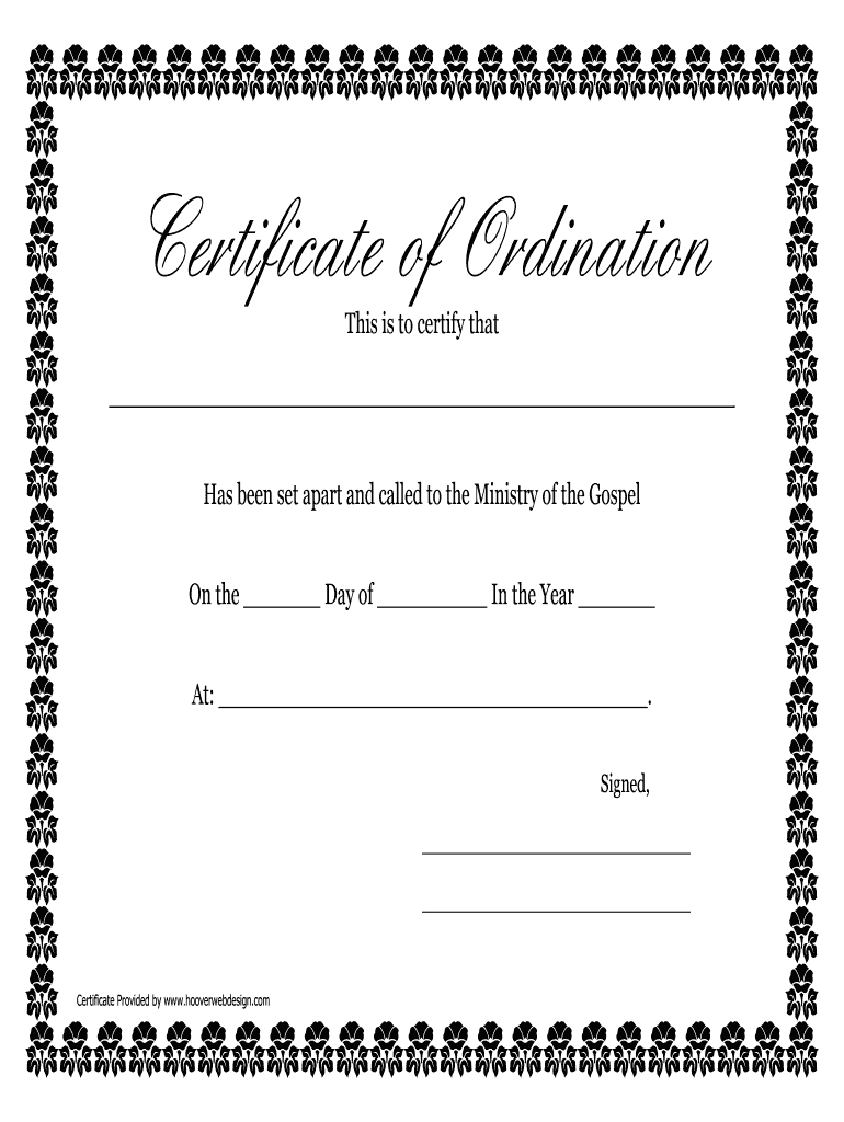 Printable Ordination Certificate - Fill Online, Printable With Certificate Of Ordination Template