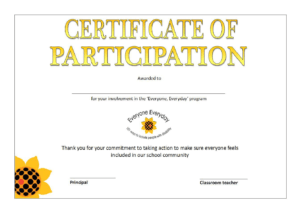 Printable Participation Certificate | Templates At inside Certificate Of Participation Template Doc