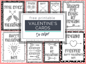 Printable Valentine Cards To Color – The Kitchen Table Classroom regarding Valentine Card Template For Kids