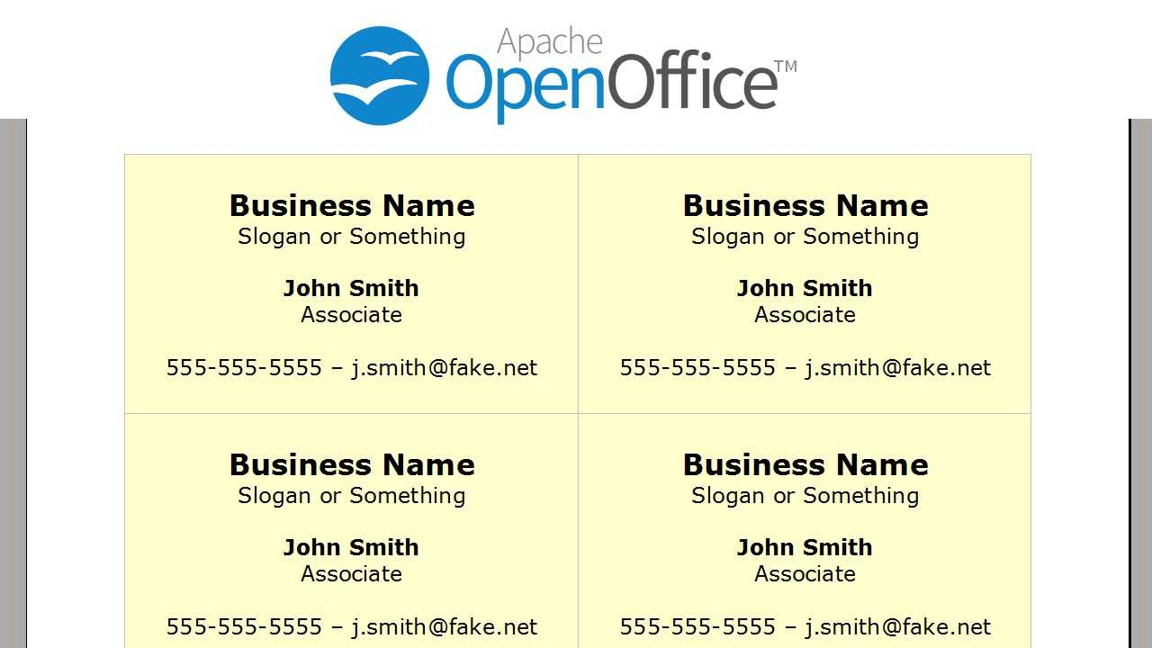 Printing Business Cards In Openoffice Writer For Openoffice Business Card Template
