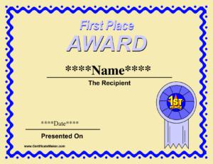 Prize Certificate Template Free ] – Certificate Template with regard to First Place Certificate Template