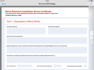 Pro Certs | Electrical Testing Inspecting & Certification with Electrical Minor Works Certificate Template