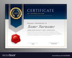 Professional Blue Certificate Template Design intended for Professional Award Certificate Template