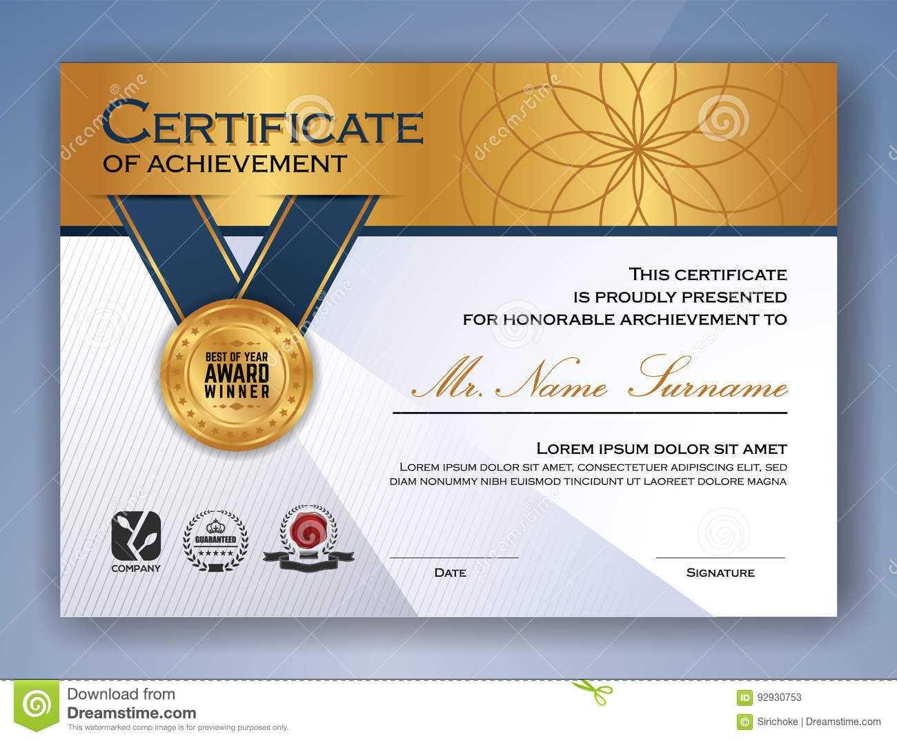 Professional Certificate Template Design Stock Vector With Professional Award Certificate Template