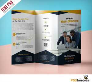 Professional Corporate Tri-Fold Brochure Free Psd Template in Three Panel Brochure Template
