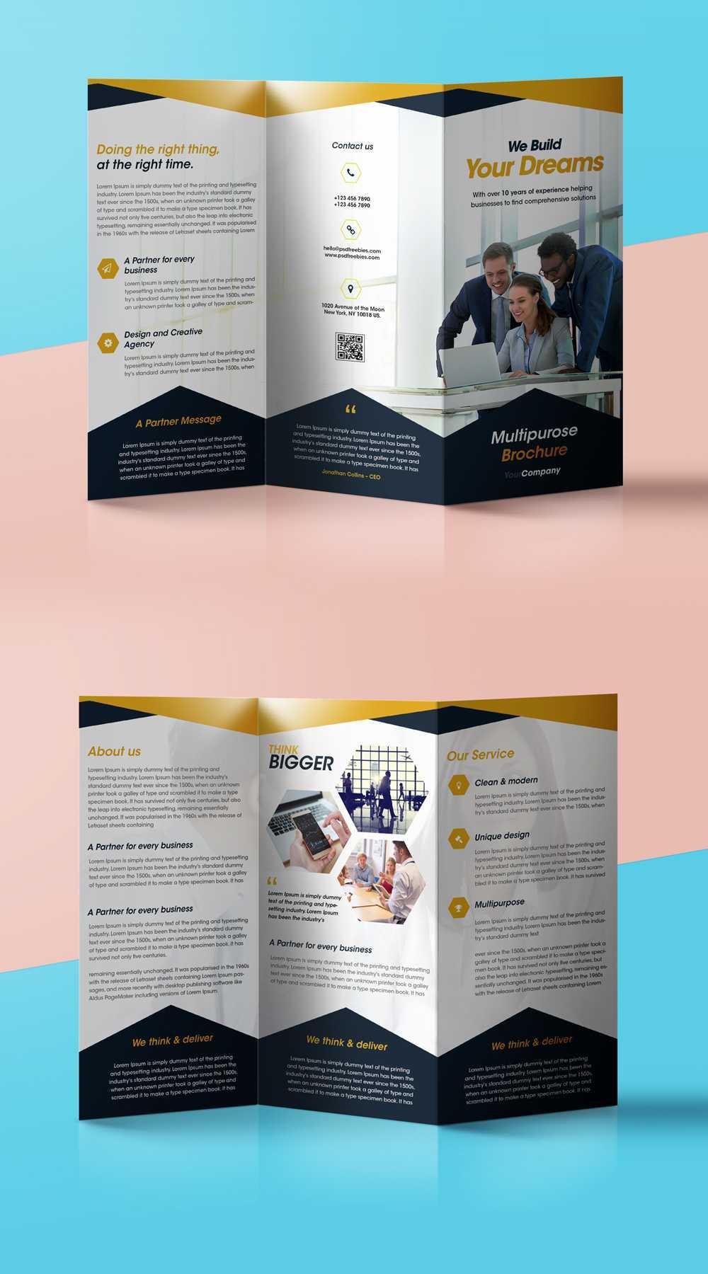 Professional Corporate Tri Fold Brochure Free Psd Template Throughout Brochure 3 Fold Template Psd