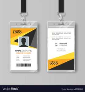 Professional Id Card Template With Yellow Details pertaining to Conference Id Card Template