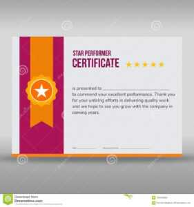 Professional Purple And Gold Certificate Stock Vector for Star Performer Certificate Templates