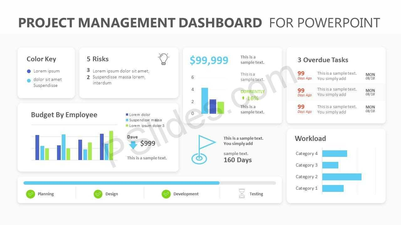 Project Management Dashboard Powerpoint Template - Pslides Throughout Project Dashboard Template Powerpoint Free