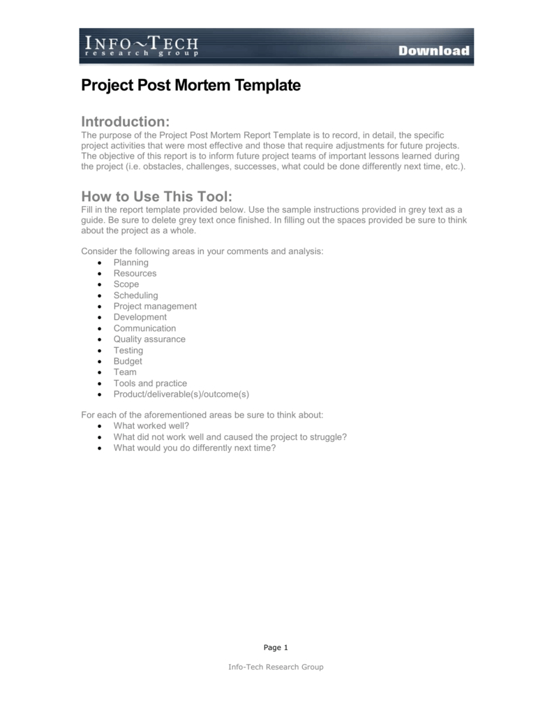 Project Post Mortem Template With Post Mortem Template Powerpoint