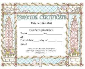 Promotion Certificate – Certificate – Promotion – Christian regarding Promotion Certificate Template