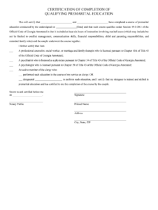Proof Of Marriage Counseling Letter – Fill Online, Printable with Premarital Counseling Certificate Of Completion Template