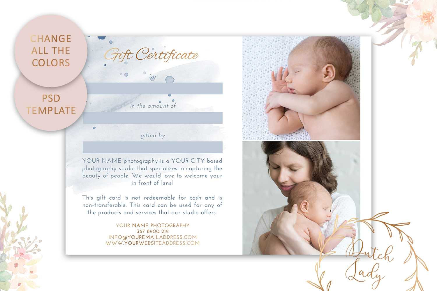Psd Photography Gift Certificate Card Template 36 - Vsual With Photoshoot Gift Certificate Template