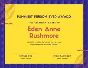 Purple And Yellow Lines Funny Certificate – Templatescanva throughout Funny Certificate Templates