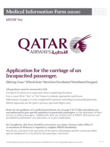 Qatar Airways Medical Form – Fill Online, Printable throughout Fit To Fly Certificate Template