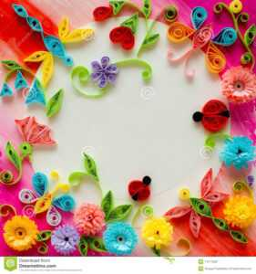 Quilling Greeting Card Blank Template Stock Image – Image Of for Free Blank Greeting Card Templates For Word