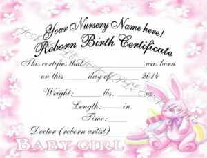 Reborn Birth Certificates (Your Custom Nursery Name) 5 Certificates within Baby Doll Birth Certificate Template