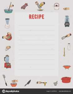 Recipe Card Cookbook Page Design Template Kitchen Utensils pertaining to Restaurant Recipe Card Template