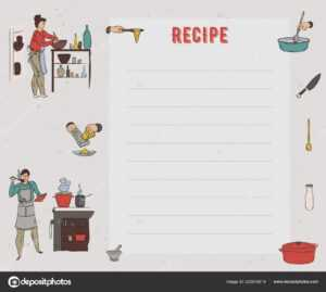 Recipe Card Cookbook Page Design Template People Preparing inside Restaurant Recipe Card Template