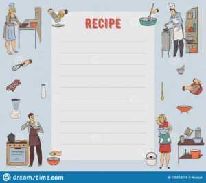 Recipe Card. Cookbook Page. Design Template With People regarding Restaurant Recipe Card Template