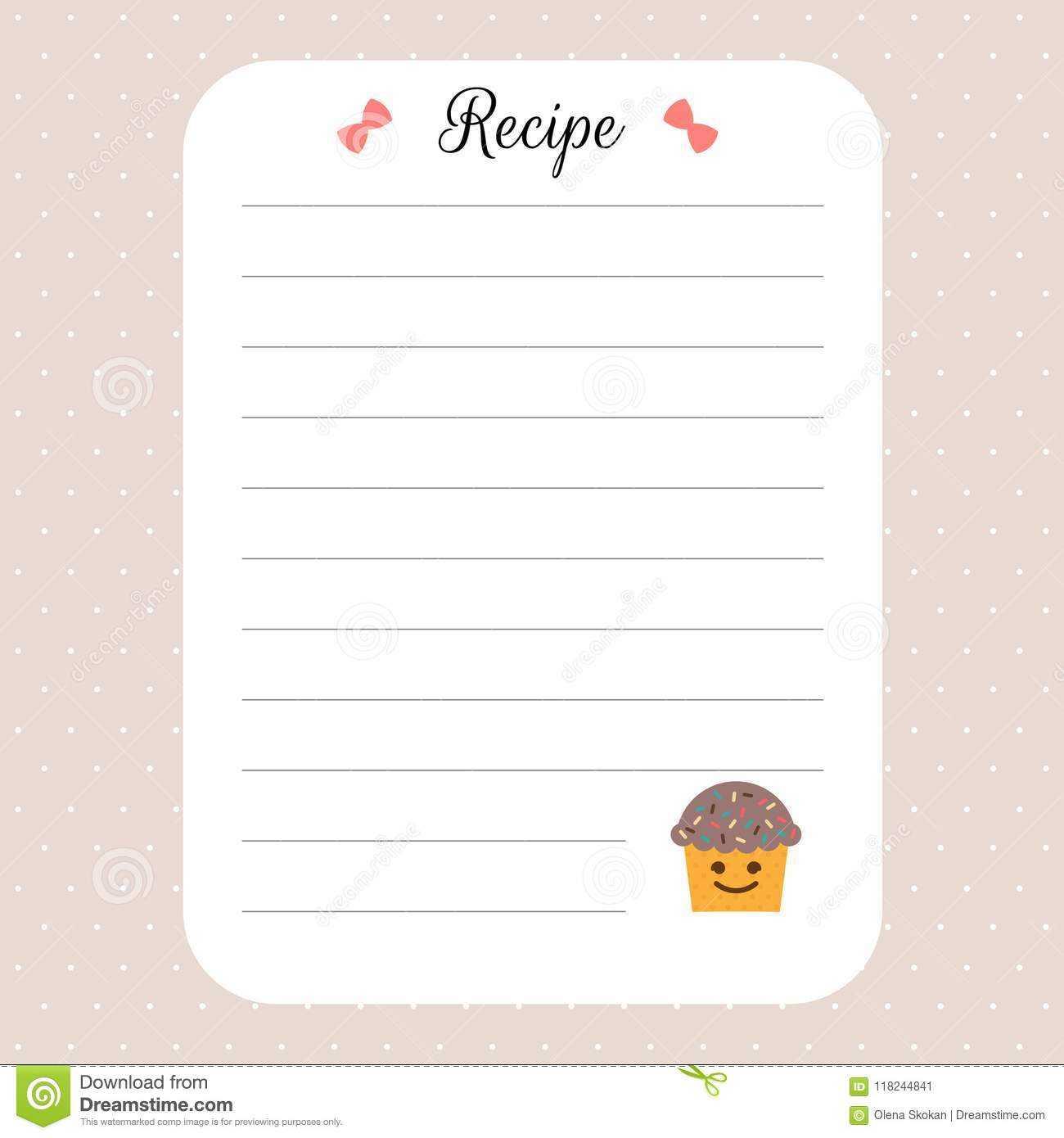 Recipe Card Template. Cookbook Template Page. For Restaurant Regarding Restaurant Recipe Card Template