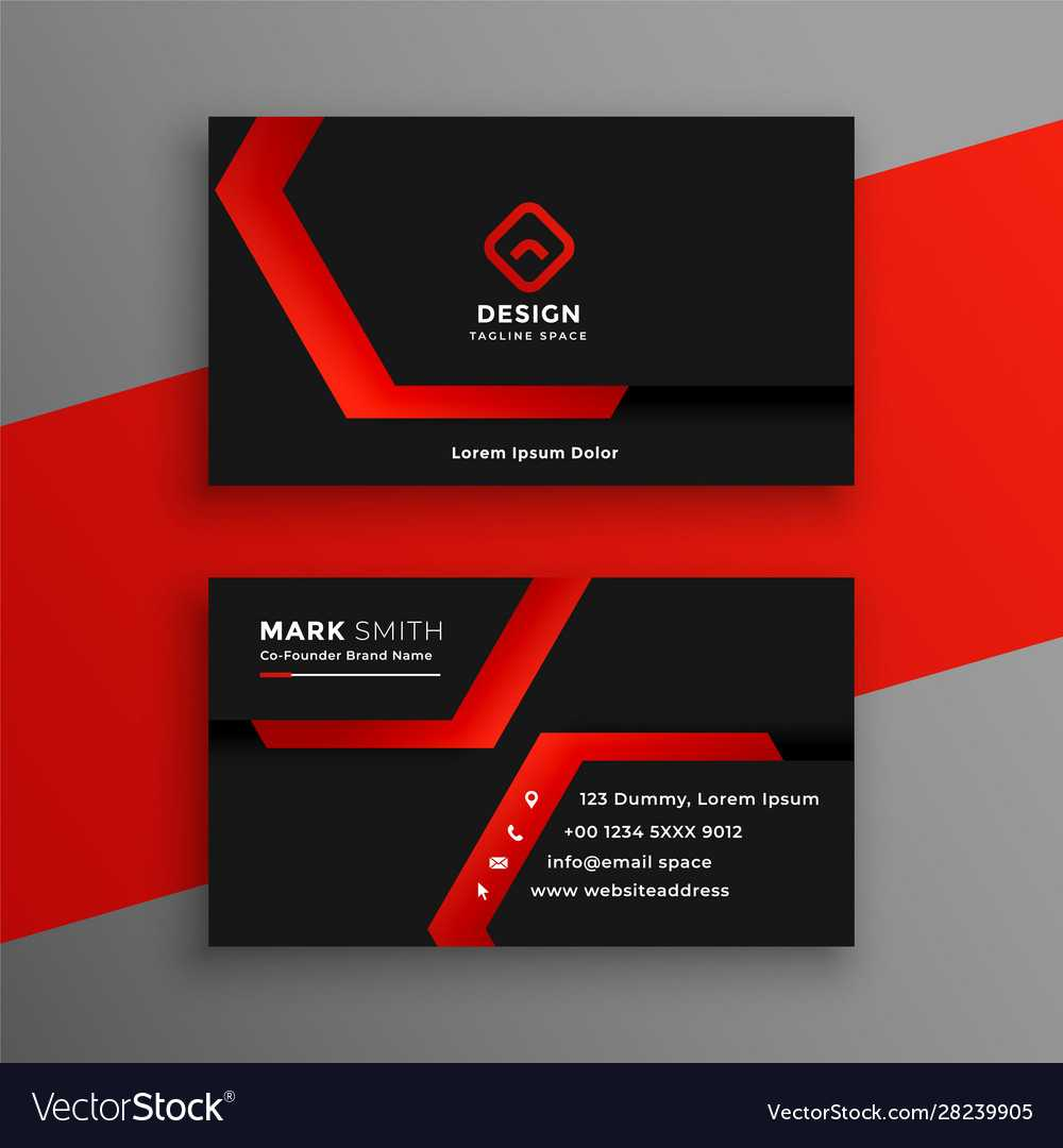 Red And Black Geometric Business Card Template With Regard To Calling Card Free Template