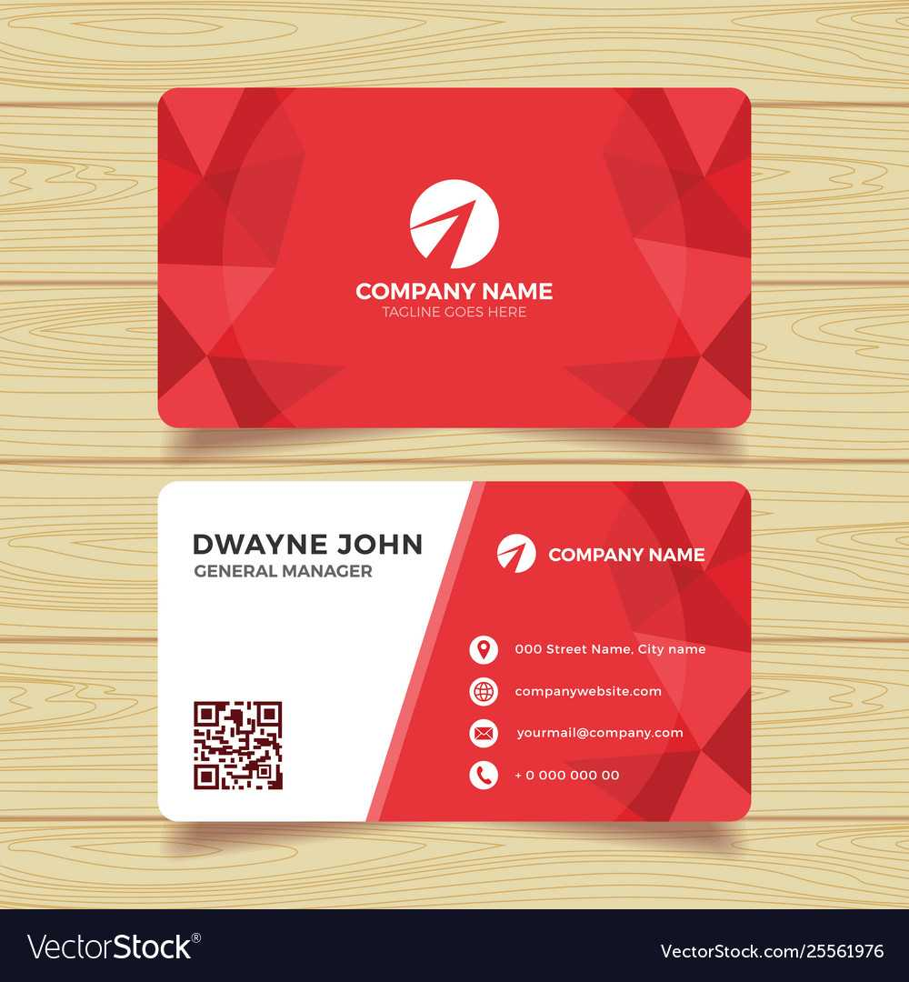 Red Geometric Business Card Template With Regard To Calling Card Free Template