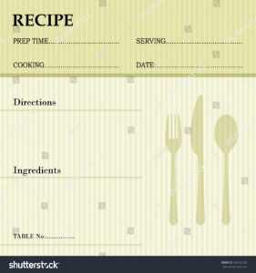Restaurant Recipe Kitchen Note Template Menu Stock Vector within Restaurant Recipe Card Template
