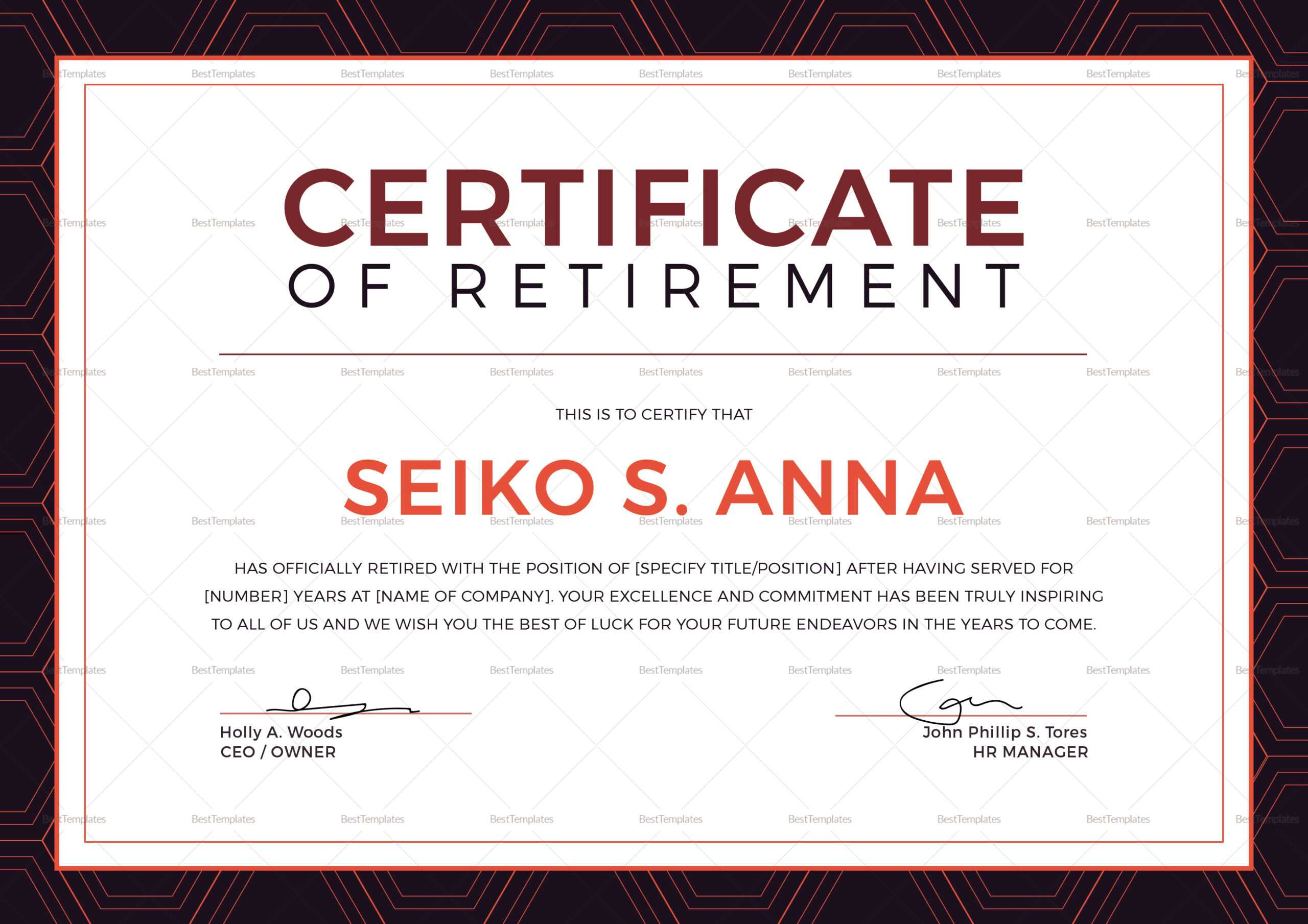 Retirement Certificate Template Regarding Retirement Certificate Template
