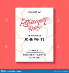 Retirement Party Invitation. Stock Vector – Illustration Of regarding Retirement Card Template