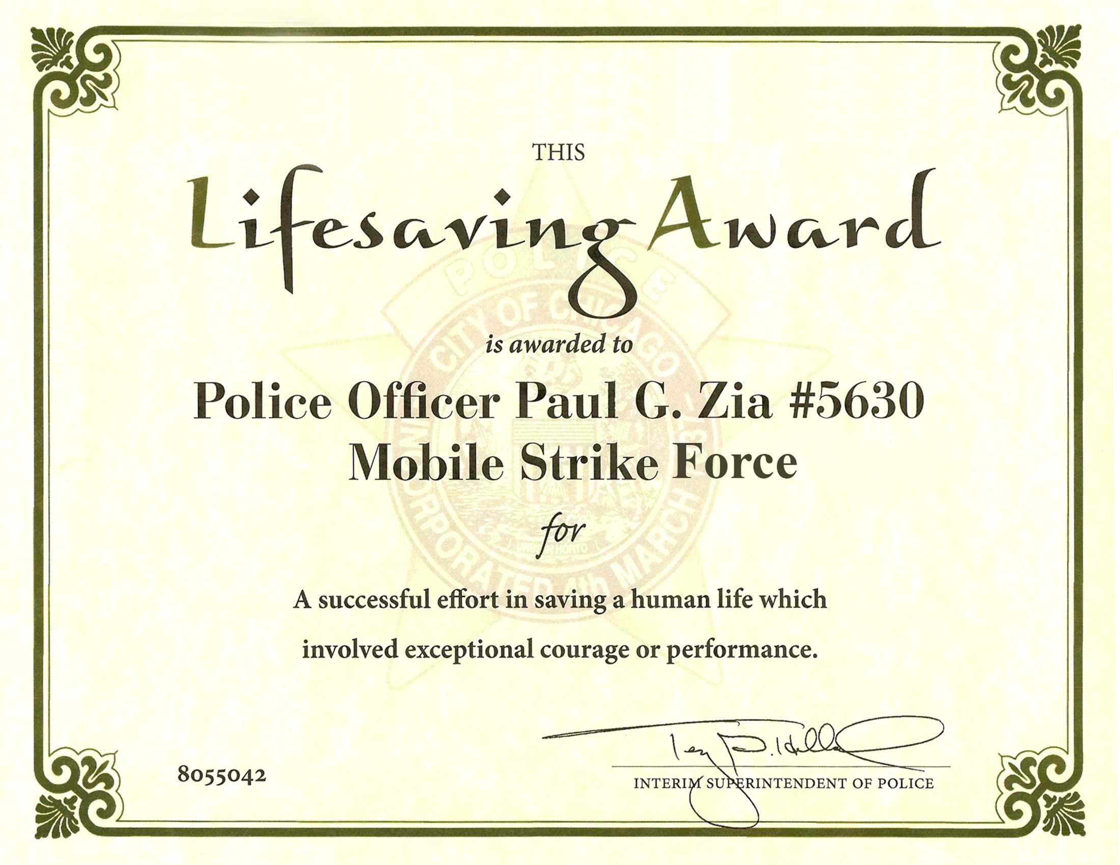Ribbon Awards | Chicagocop With Life Saving Award Certificate Template