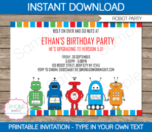 Robot Party Invitations Template | Birth #1155786 – Png regarding Monster High Birthday Card Template