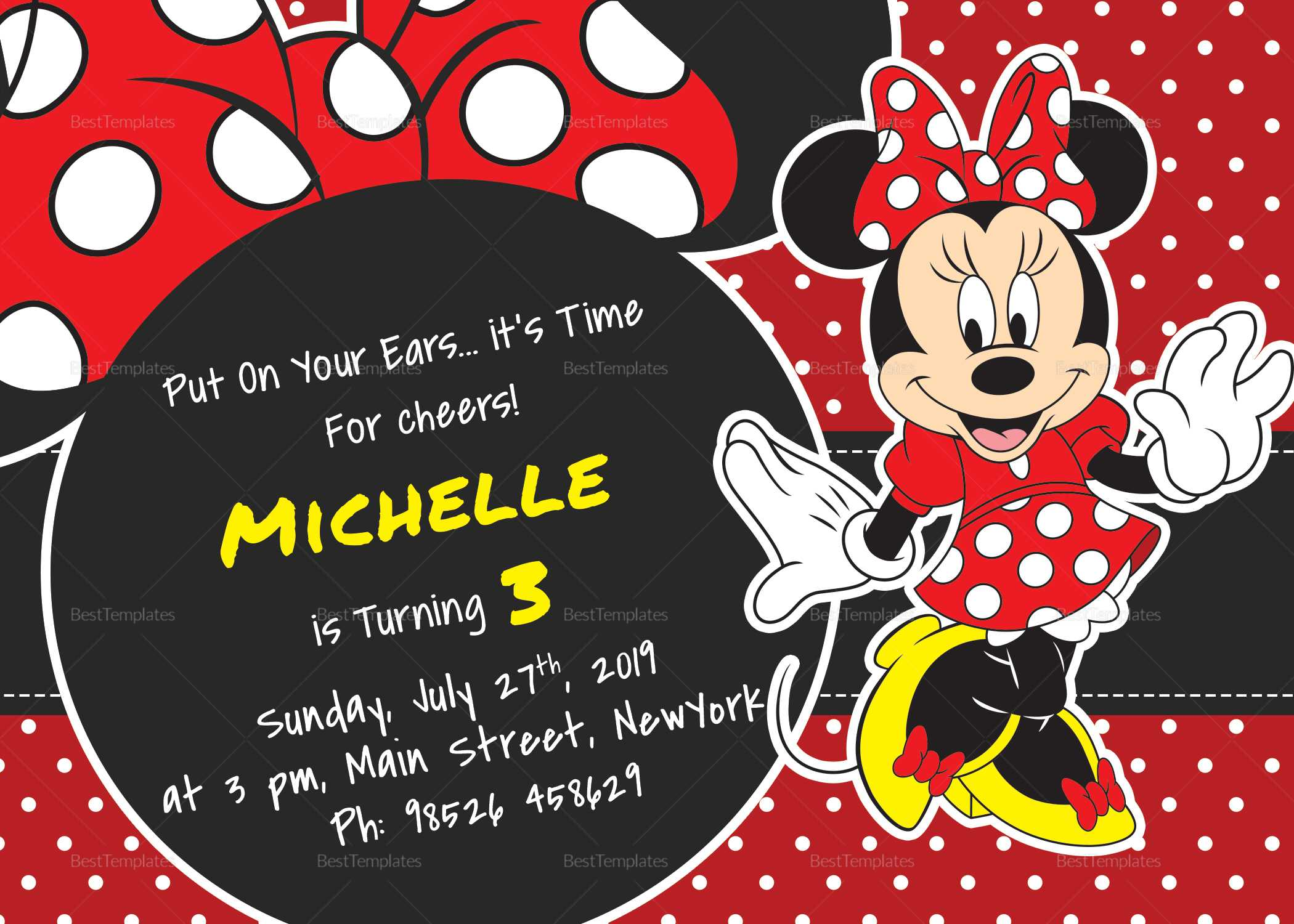 Rocking Minnie Mouse Birthday Invitation Card Template Regarding Minnie Mouse Card Templates
