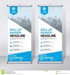 Roll Up Banner Design Template, Vertical, Abstract throughout Pop Up Brochure Template