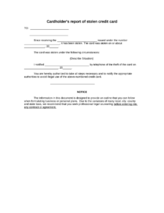 Sample Cardholder's Report Of Stolen Credit Card Form | 8Ws for Corporate Credit Card Agreement Template