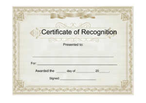 Sample Certificate Of Recognition – Free Download Template intended for Certificate Templates For Word Free Downloads