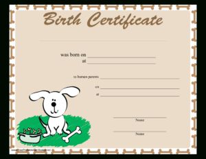 Sample Dog Birth Certificate | Templates At throughout Service Dog Certificate Template