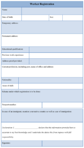 Sample Employee Registration Form – Matchboard.co within Dd Form 2501 Courier Authorization Card Template