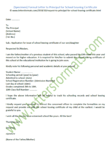 Sample Formal Letter To Principal For School Leaving Certificate throughout School Leaving Certificate Template