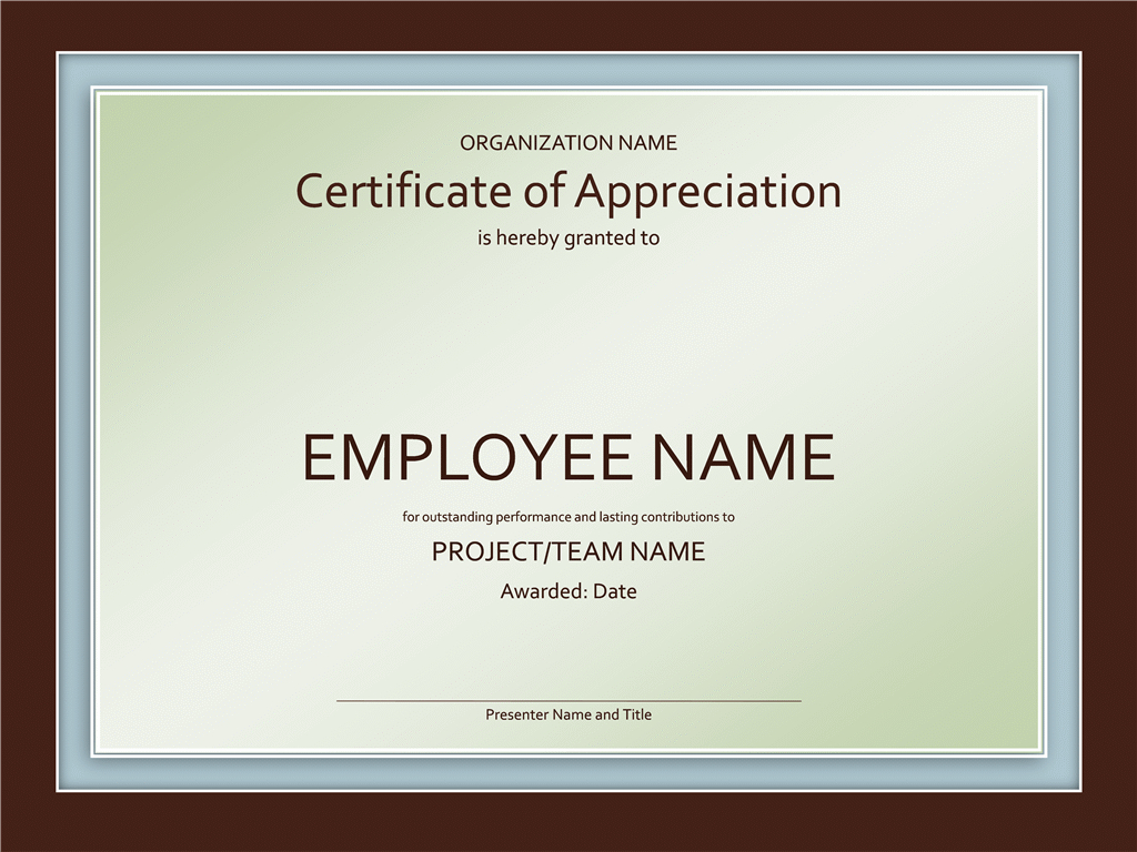 Samples Certificates Of Appreciation For Award Certificate Templates Word 2007