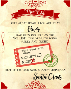 "Santa ""nice List"" Free Printable Certificate in Love Certificate Templates"