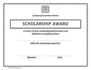 Scholarship Award Certificate Template within Free Printable Blank Award Certificate Templates