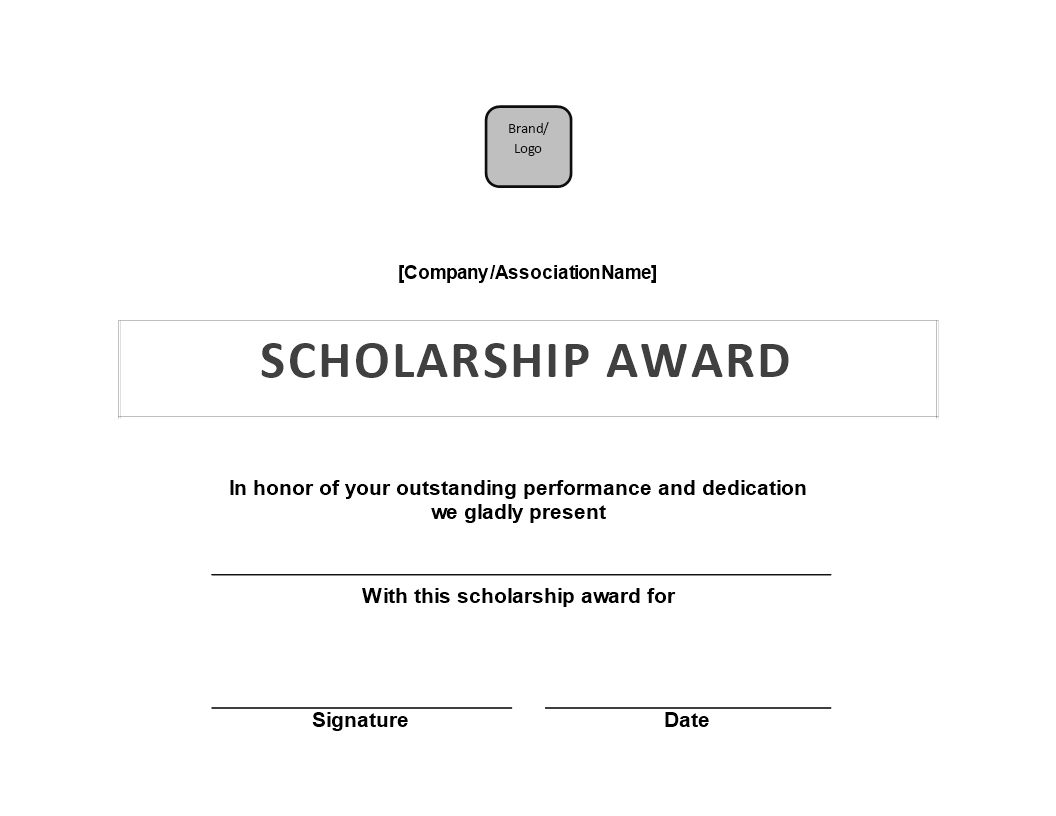 Scholarship Award Certificate | Templates At With Regard To Scholarship Certificate Template