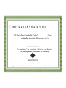 Scholarship Certificate – 3 Free Templates In Pdf, Word within Scholarship Certificate Template