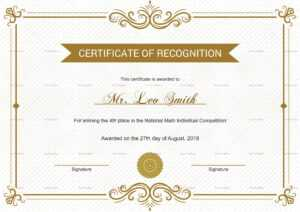 School Recognition Certificate Template inside Certificate Templates For School