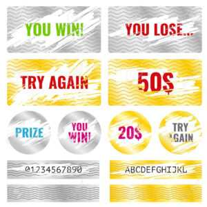 Scratch Card Game, Scratch And Win Lottery Vector Elements. Lottery.. regarding Chance Card Template