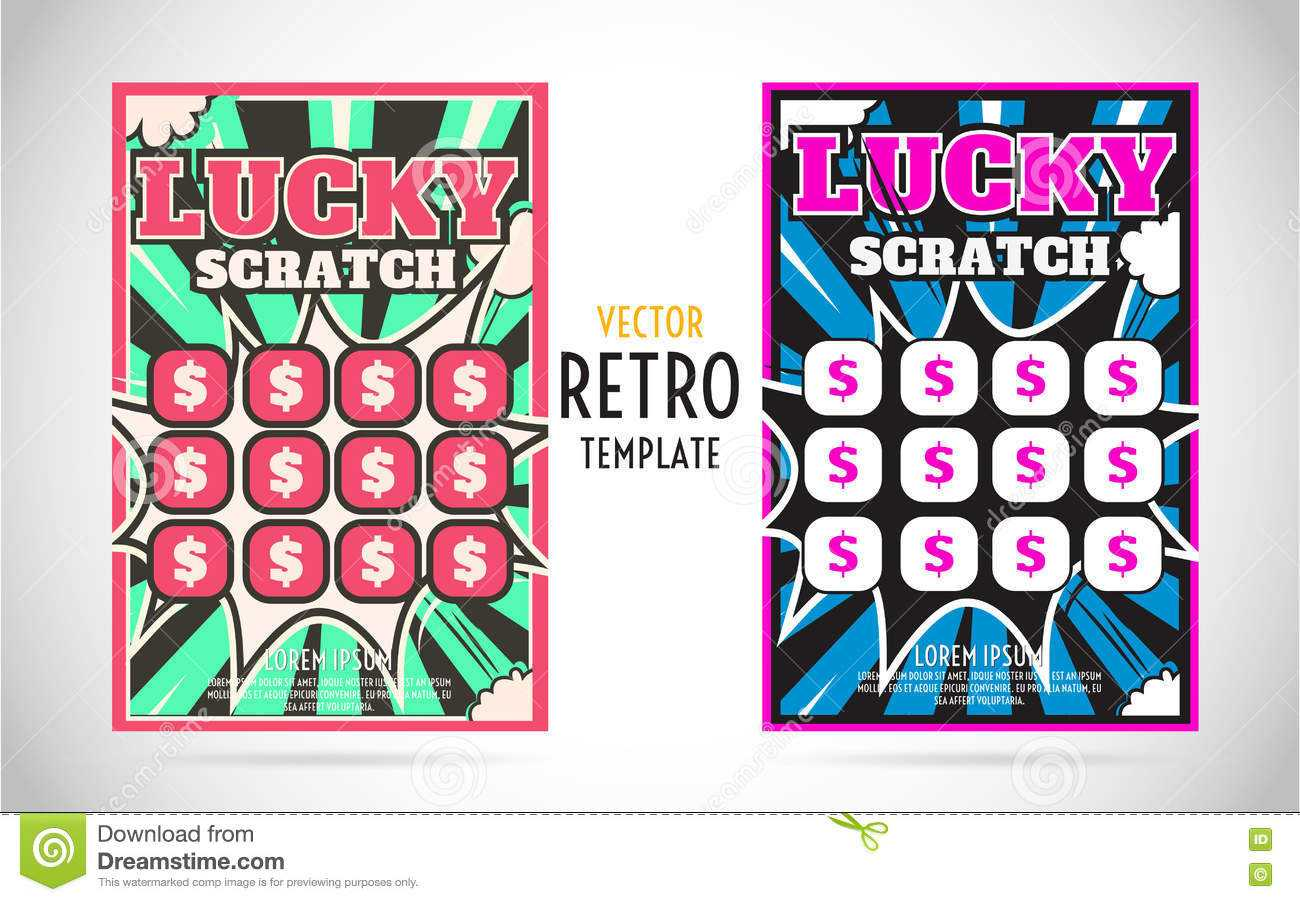 Scratch Off Lottery Ticket Vector Design Template Stock With Scratch Off Card Templates