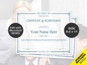 Scroll Certificate Of Achievement Template Digital Download with Certificate Of Achievement Template Word