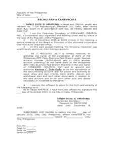 Secretary Certificate To Open Account-1 – Docshare.tips regarding Corporate Secretary Certificate Template